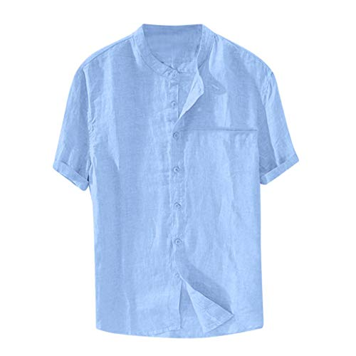 Plus Size Retro Shirts for Men,Mens Summer Casual Short Sleeve Button Down Tops Baggy Solid Color Blouses