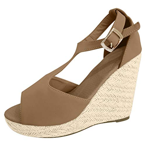 Women Wedge Platform Sandals T Strap Ankle Buckle Straw Sandals Open Toe Fish Mouth Rubber Sole Shoes by Lowprofile