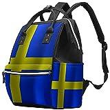WJJSXKA Zaini Borsa per pannolini Laptop Notebook Zaino da viaggio Escursionismo Daypack per donna Uomo - Bandiera svedese