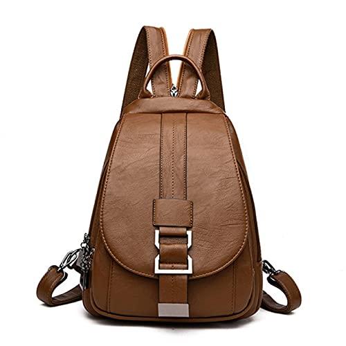 NYSYZSM Rucksack Frauen Leder Rucksäcke Vintage Weibliche Schulter Taschereise Damen Bagpack Schule Taschen Für Mädchen