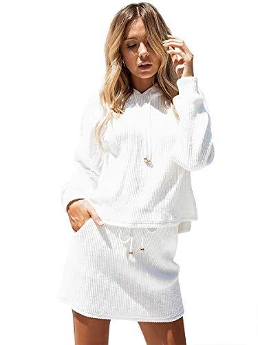 Selfieee 2Pcs Sudadera de Manga Larga y Falda Corta para Mujer Conjuntos de chándal Loungewear Casual Elegante Blanco 40