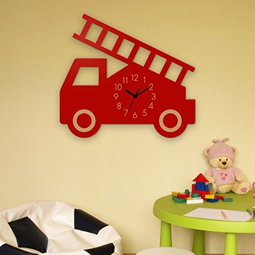 Wanduhr Feuerwehr-Rot, Kinderuhr, Uhr für Kinderzimmer