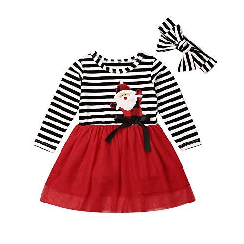 Vestido para Niña Bebé Recién Nacido Temático Vestido con Mangas Largas de Tul Estampado Dibujo Animado 1-6 Años para Fiesta (Papa Noel, 5-6 Años)