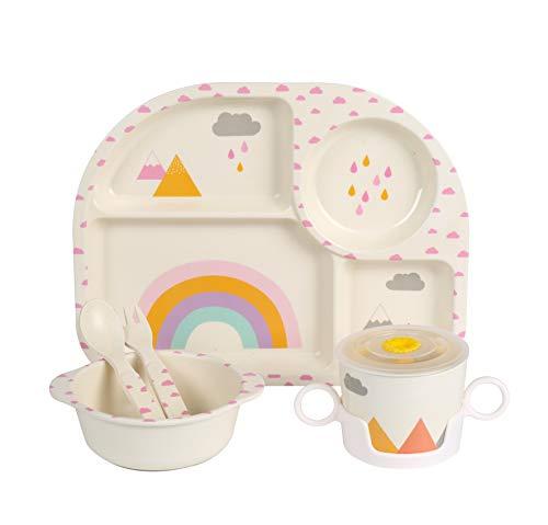 Shopwithgreen 5Pcs/Set Bamboo Kids Dinnerware Set - Children Dishes - Food Plate Bowl Cup Spoon Fork Set Dishware, Cartoon Tableware, Dishwasher Safe Kids Healthy Mealtime, BPA Free (Rainbow)