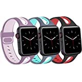 Menika Sport Band Compatible with Apple Watch 38mm 40mm 42mm 44mm Breathable Soft Silicone Replacement Wristband for iWatch Series 6 5 4 3 2 1 Women Men (3Packs(Wine Red/Black, Grey/Teal, Purple/Pink), 42mm/44mm-M/L)