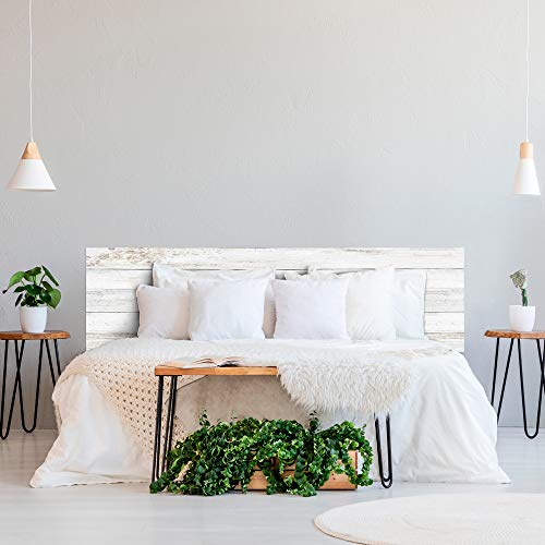 ROTULA TU MISMO Impression numérique en PVC Effet bois blanc vieilli Vintage Tête de lit originale et économique Différentes tailles (115 x 60 cm)