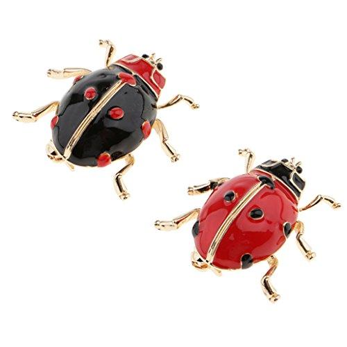 2 Unidades Alfiler Esmalte Mariquita, Insecto Broche Pin Mujeres para Hombre Bisutería