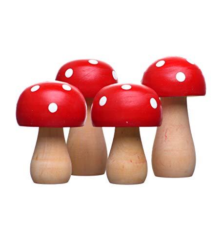 HEITMANN DECO Pilze aus Holz - Herbstdeko Natur Figuren, Fliegenpilze, Tischdeko, zum Basteln - Rot, Weiß - 4er Set