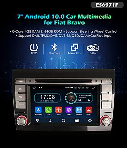 Autoradio Erisin ES6971F 7' Android 10.0 DVD GPS DTV per Fiat Bravo