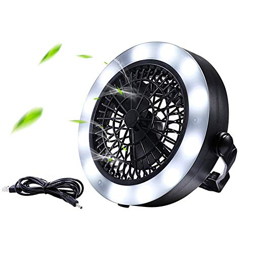 Nologo SHM-MM Usb fan lamp, 18LED multifunctional triple camping tent fan fan lights for outdoor camping