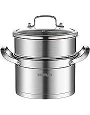 YRHH Juego de vaporera de Acero Inoxidable - 2 Niveles - Sartenes de inducción con Tapa de Vidrio Templado y Asas Resistentes al Calor-A
