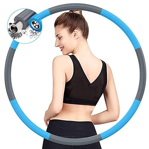 BIAOQINBO Reifen Hoop Erwachsene für Fitness Gewichtsabnahme,Verbesserter Edelstahlkern mit Dicker Premium Schaumstoff Gewichteter Hula Reifen Hoop,8 Abnehmbare Segments 1,2 bis 3,2 kg (Grau Blau)