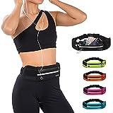 Jueachy Running Belt for Man Women, Waterproof Fanny Pack Running Waist Pouch Phone holder Adjustable Sports Money Belt with Headphone Port