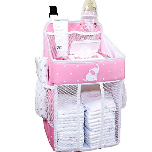 Baby Crib Diaper Caddy - Hanging Diaper Organizer - Storage for Baby Nursery - Hang on Crib, Changing Table, Playard or Furniture – Delicate Pink – 17x9x9