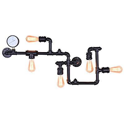 Lingkai Industrial Wall Sconce 5-Light Steampunk Wall Lamp Water Pipe Wall Light Vintage Farmhouse Wall Mount Lamp