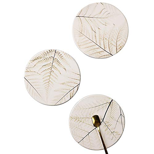 Coaster for Drink 3 Pack Ceramic Coasters with Cork Base, Desk Absorbent Mats Set Suitable for Kinds of Cups and Mugs (Leaf, 3)