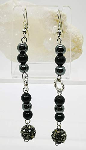 Silver and black earrings with natural hematite. Gift idea made in Italy