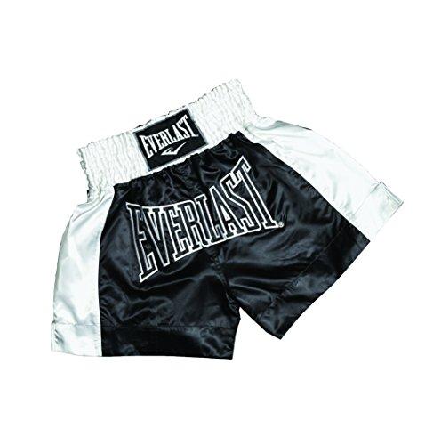 Everlast EM6 - Pantalón de Thai Boxing Unisex, Color Negro/Blanco, Talla XL