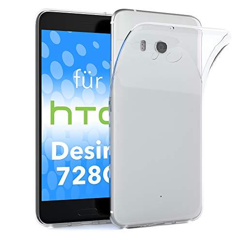 EAZY CASE HTC Desire 728G Dual SIM Schutzhülle Silikon, Ultra dünn, Slimcover, Handyhülle, Silikonhülle, Backcover, Durchsichtig, Klar Transparent