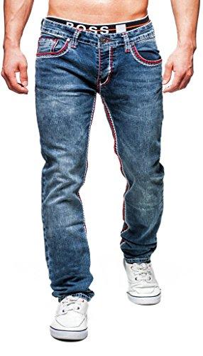 Leif Nelson Herren Jeans Hose Slim Fit Denim Blaue graue Lange Jeanshose für Männer Coole Jungen weiße Stretch Freizeithose Schwarze Cargo Chino Sommer Winter Basic LN1319-2659 Dunkel Blau W36/L34