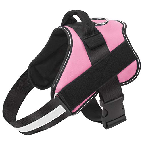 Bolux Dog Harness, No-Pull Reflective Dog Vest, Breathable Adjustable Pet Harness with Handle for Outdoor Walking - No More Pulling, Tugging or Choking ( Pink, M )