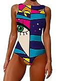 Onsoyours Traje de Baño Acolchado de Una Pieza Escote en U Bañadores Mujer Reductores con Estampado Floral Elegante Push Up Monokini A Azul XS