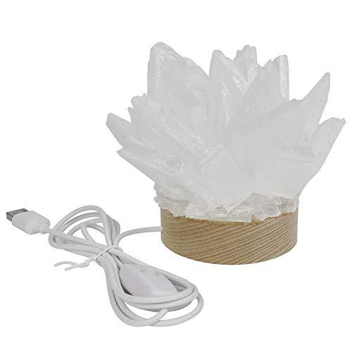 ZZLLFF 1 unids Cristal Cuarzo Natural Selenite Lámpara Piedras Lámpara Lámpara Lámpara Cena Decoración (Color : Creamy White)