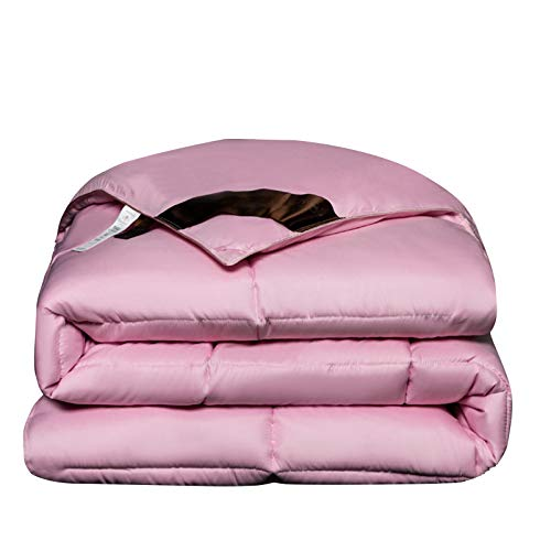 YRRA Feather Cotton Quilt, Thicken Comforter Winter Soft Warm Bed Quilt Silky Warm Comfortable Bedding, for Home Bedroom,Pink,180x220cm(3kg)