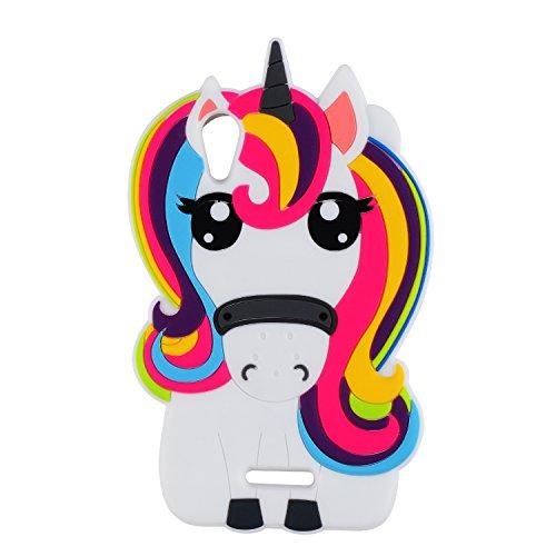 Licorne Unicorn Coque Pour Wiko Lenny 4,Housses de téléphone,TPU Silicone Etui,Mignon 3D Cartoon Dessin Animé Animaux Pink Fille Femmes Enfants,Cute Kawaii Kids Girls Rubber Case Pour Lenny4