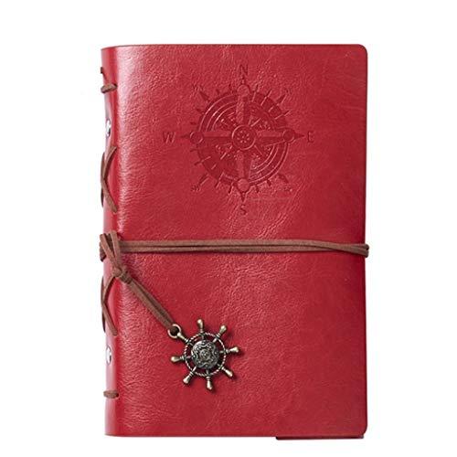 Cuadernos de diario en blanco de papel rayado plan A6, A7 Retro Colgantes Cuero en relieve clásico Cuaderno de escritura Cuaderno Vintage Náutico Espiral Cadena en blanco Diario Bloc de notas Cuaderno