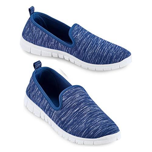 Slip On Lightweight Memory Foam Sole Sneakers, Wide Width Navy