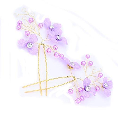 Lavender Flower Pearl Bridal Hair Pin Rhinestone Wedding Headpiece
