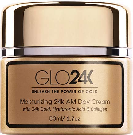 GLO24K Moisturizing Day Cream with 24k Gold, Hyaluronic Acid, Collagen, and Vitamins. For Optimal Hydration!