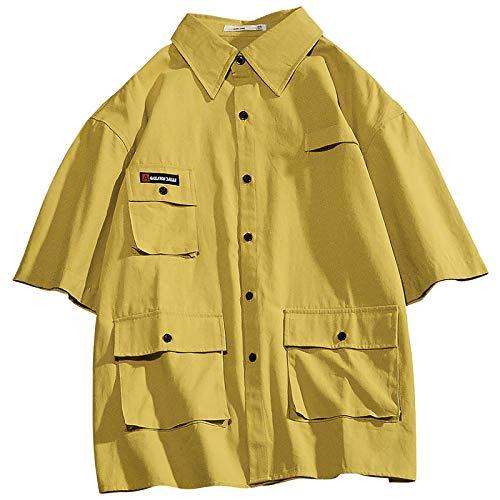Camisa de Color sólido para Hombre, Manga de Cinco Puntos, Ajuste Holgado, Camisa de Carga con múltiples Bolsillos, Estilo japonés, Tops Casuales para Todos los Partidos XX-Large