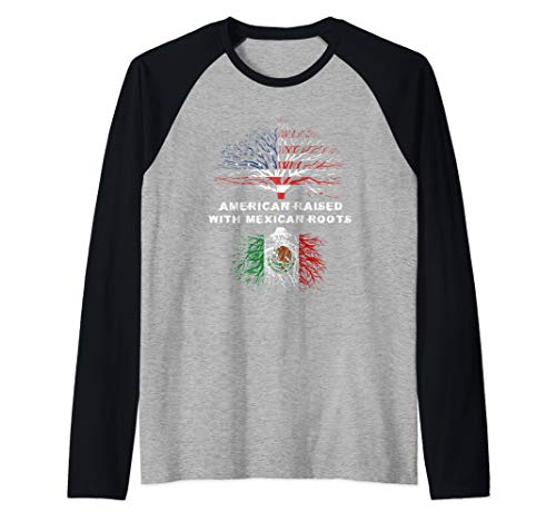 American Raised with Mexican Roots Mexico Raglan Baseball Tee