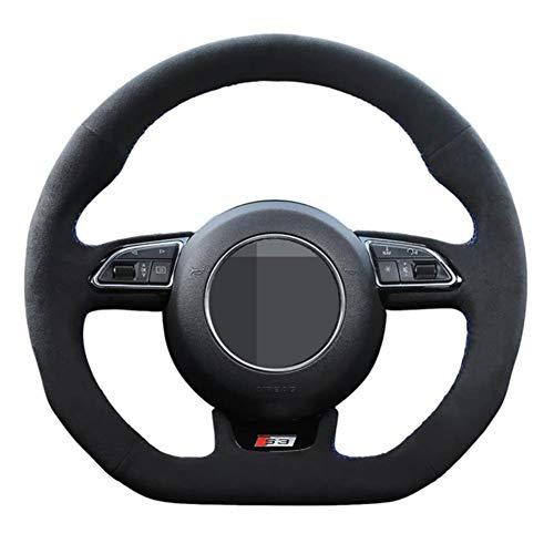 YHDNCG Handgenähtes schwarzes Leder-Auto-Lenkrad-Abdeckung, für Audi A5 A7 RS7 S7 SQ5 S6 S5 S4 S4 S3 S3 2012-2018