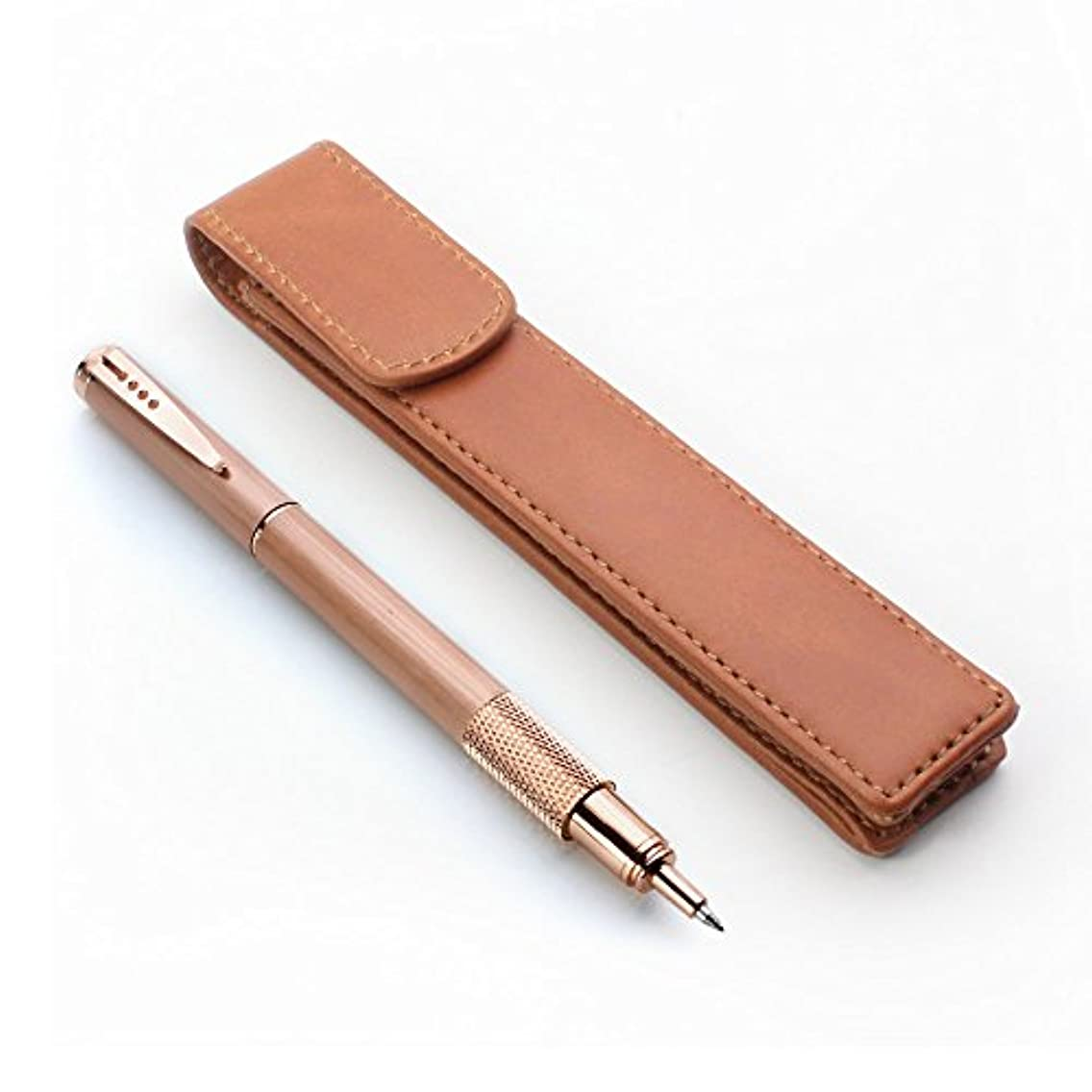 Leather Pen Case Pouch Holder - Protective Single Sleeve for Pens, Brown