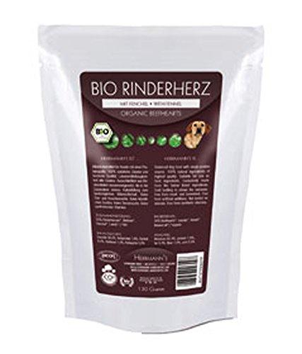 4er-Set Bio Hundefutter Feucht Rinderherzen, Fenchel, Möhren, Leinöl (Frischebeutel) 130g...