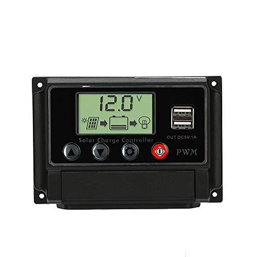 Javpoo Controlador de Carga del regulador del Panel Solar USB 30A 12V-24V con Cargador USB Dual