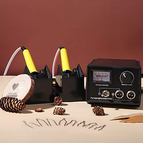 S SMAUTOP Macchina per Pirografia Professionale Kit di Combustione a Legna 60W Legno Brucia Pirografia Penna Kit con pennini per pirografia da 20 Pezzi(Dual Port + Display Puntatore)