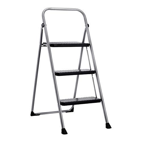 Amazon Basics Folding Step Stool  3Step Steel 200Pound Capacity Grey and Black