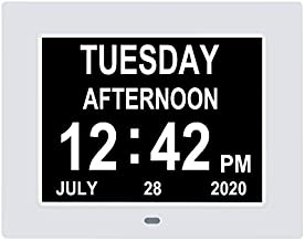 [Newest Version]Digital Calendar Day Clock,Extra Large Display with Battery Backup & 8 Alarms for Dementia,Alzheimer, Memory Loss,Vision Impaired,Senior/Elderly