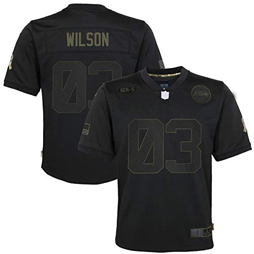 OPOOT Custom American Football Rugby Trikots Russell Seahawks Nr. 3 schwarz, Seattle Wilson Youth 2020 Salute to Service Game Jersey atmungsaktiv Outdoor Casual T-Shirts für Jungen