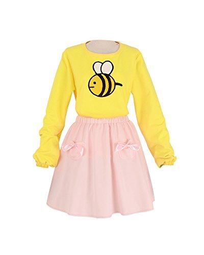miccostumes Women's Bee Yellow Shirt Pink Skirt Cosplay Costume (Yellow)