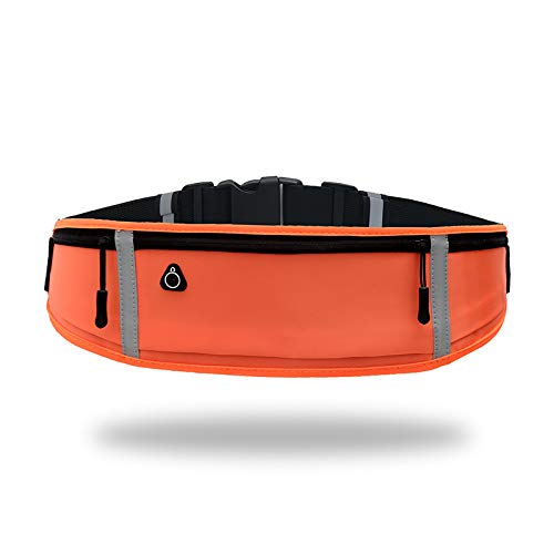 Running-Waist-Belts-with-Headphone-Hole Fits All Phone Under 6, Slim Fit Jogging Belt with Three Bounce-Free Zip Pockets, Reflective Strips, Fanny Pack for...