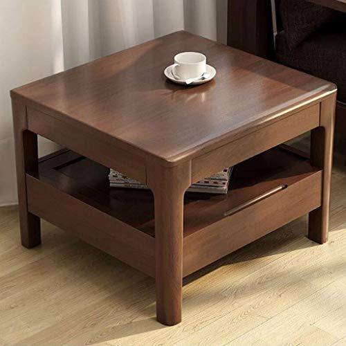 LYN Bijzettafel, bijzettafel eikenhouten ruimte eindetabbladen theetafel, woonkamer massief hout kleine softafel, slaapkamer leestafel met schuiflade, 60 * 60 * 45 cm