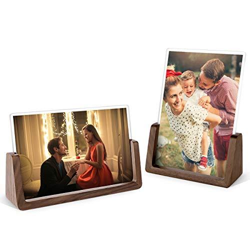 MEKO Holz Design Bilderrahmen, Holz-Fotorahmen 2er-Pack, mit Walnussholzboden und transparenten Acrylrahmenabdeckungen für Bildanzeige im Haus/Büro-Schreibtisch (Horizontal + Vertikal) (13 x 18 cm)