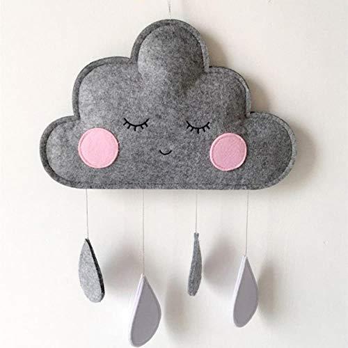 ZCN Fieltro Nube Gota De Lluvia Colgante Adornos para Colgar En La Pared Estilo Decoraciones para Habitaciones De Niños Tienda De Campaña Decoración De Guardería Accesorios para Fotos