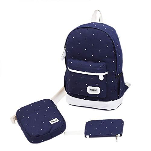 CapsA School Backpack for Girls Canvas Laptop Backpack Teens Bookbag Set Shoulder Bag Coin Purse Rucksack Travel Bag