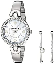 Silver Swarovski Crystal Accented Watch and Bangle Set